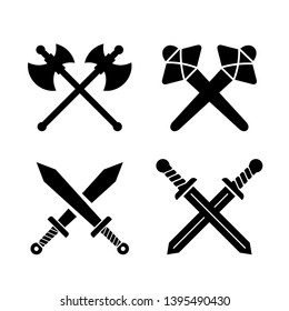 Ancient weapons sign set on white background