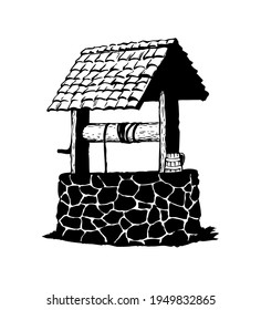 Ancient well. Vector drawing icon