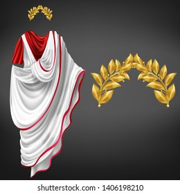 Ancient white toga on red tunic and golden laurel wreath 3d realistic vector isolated on black background. Roman empire emperor, glorious republic citizen, famous philosopher clothing, triumph symbol