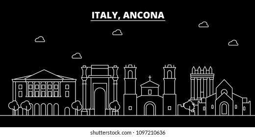 Ancona silhouette skyline. Italy - Ancona vector city, italian linear architecture, buildings. Ancona travel illustration, outline landmarks. Italy flat icons, italian line banner