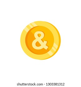 And, letter, coin color icon. Element of color finance signs. Premium quality graphic design icon. Signs and symbols collection icon for websites, web design