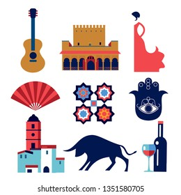 Andalucia set vector icons and symbols. Spain and spanish tradition and culture, flamenco, architecture flat style vector elements