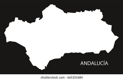 Andalucia Spain map black inverted silhouette illustration
