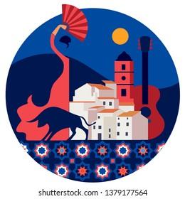 Andalucian vector circle emblem with flamenco dancing woman