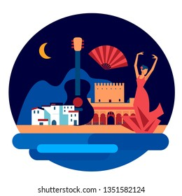 Andalucian vector circle emblem of mediterranean  town and  flamenco dancing woman. Andalucia set vector icons and symbols. Spain and spanish tradition and culture flat style vector elements
