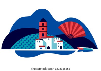 Andalucian vector illustration of white mediterranean town