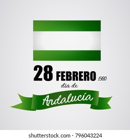 Andalusia day festive. 28 february: Flag of Andalusia for the memorial day. Vector image
