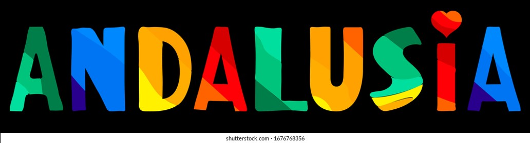 Andalusia. Multicolored bright funny cartoon colorful cute contrast isolated inscription on black. Spain Andalusia for print on clothing, t-shirt, banner, flyer, card, souvenir. Stock vector picture.