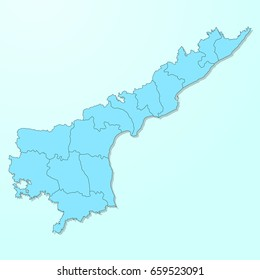 Andhra Pradesh blue map on degraded background vector