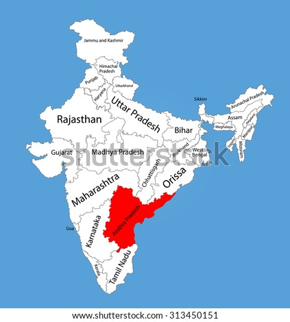 Andhra Pradesh State India Vector Map Stock Vector (Royalty Free ...