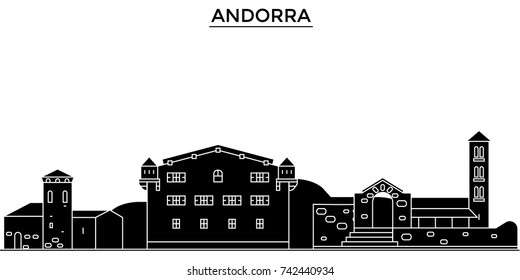 Andorra architecture vector city skyline, travel cityscape with landmarks, buildings, isolated sights on background