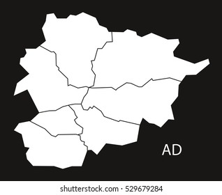 Andorra with districts  Map black white
