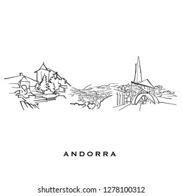 Andorra famous architecture. Outlined vector sketch separated on white background. Architecture drawings of all European capitals.