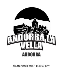 Andorra la Vella black and white logo for high quality prints. Hand drawn vector sketch.