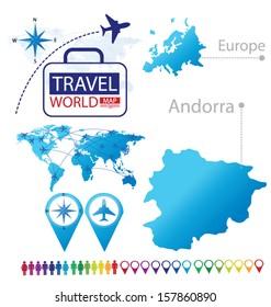 Andorra. Map. Europe. Modern globe. Travel vector Illustration.