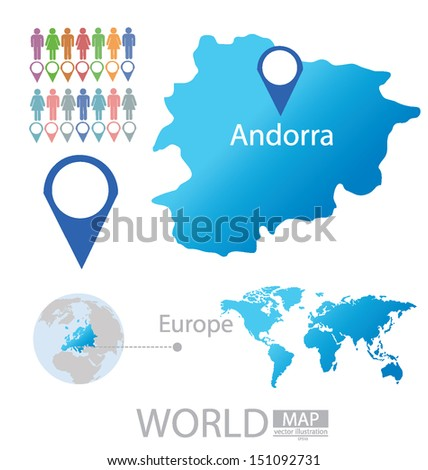 Andorra Map Europe Modern Globe Vector Stock Vector Royalty Free