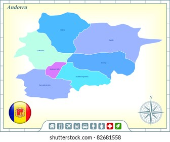 Andorra Map with Flag Buttons and Assistance & Activates Icons Original Illustration