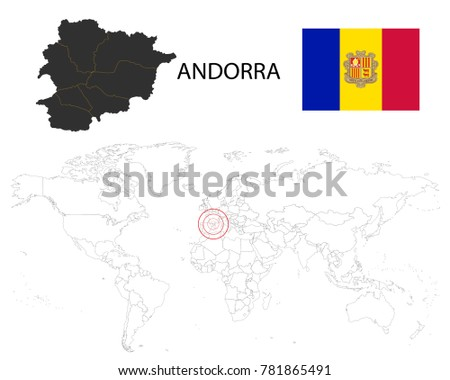 Andorra Map On World Map Flag Stock Vector Royalty Free 781865491