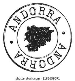 Andorra Silhouette Postal Passport Stamp Round Vector Icon