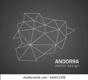 Andorra  vector contour  black map