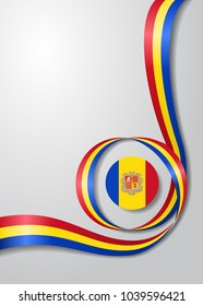 Andorran flag wavy abstract background. Vector illustration.