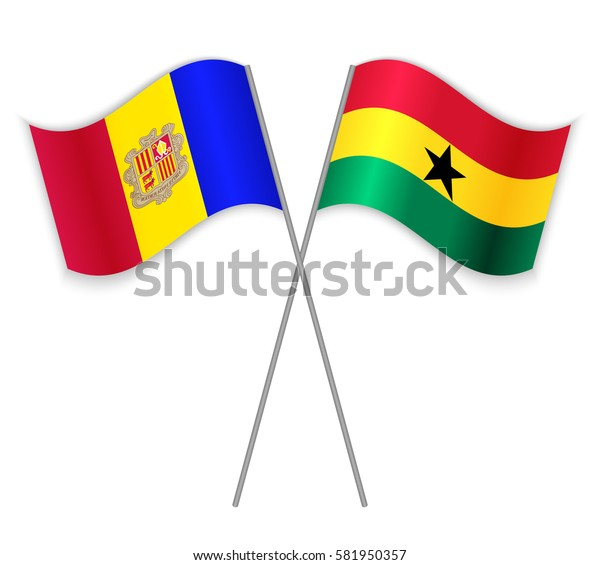 Andorran and Ghanaian crossed flags. Andorra combined with Ghana isolated on white. Language learning, international business or travel concept.