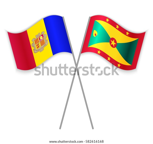 Andorran and Grenadian crossed flags. Andorra combined with Grenada isolated on white. Language learning, international business or travel concept.