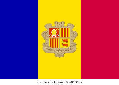 Andorran national official flag. Patriotic symbol, banner, element, background. Accurate dimensions. Flag of Andorra in correct size and colors, vector illustration