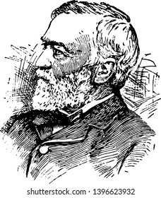 Andrew Carnegie 1835 to 1919 he was a Scottish to American industrialist and leading philanthropist in the United States and British Empire; vintage line drawing or engraving illustration