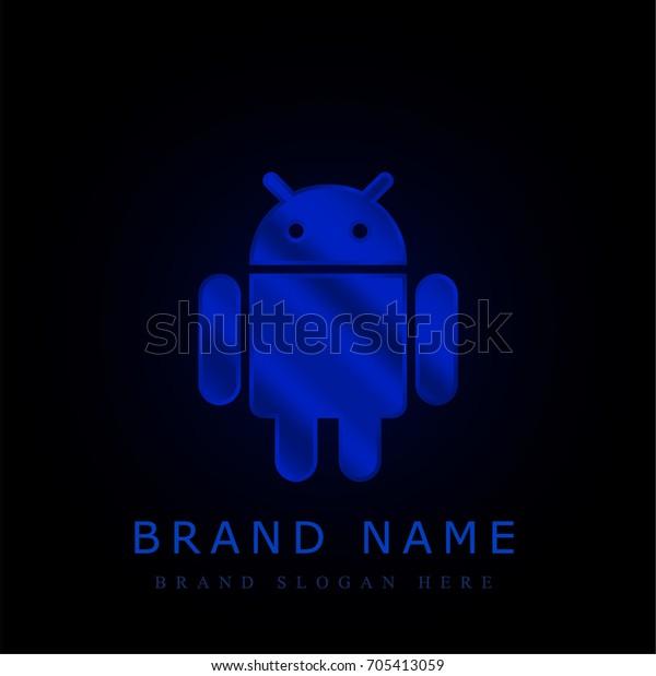 Android Blue Chromium Metallic Logo Stock Vector (Royalty Free