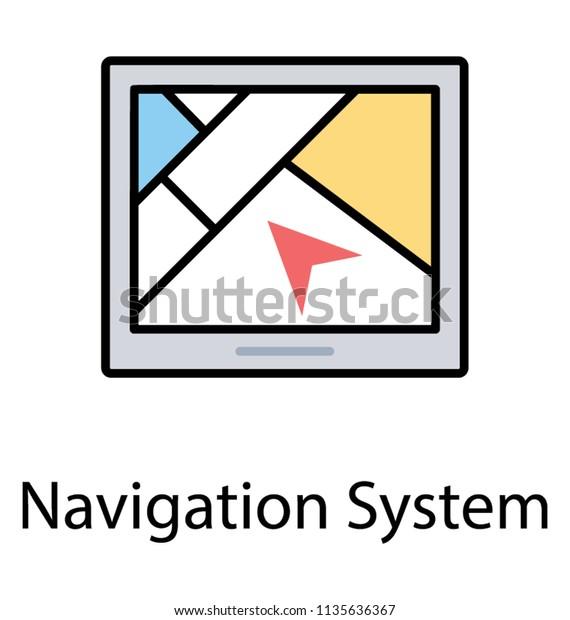 Android Display Screen Showing Map Arrow เวกเตอร์สต็อก (ปลอด