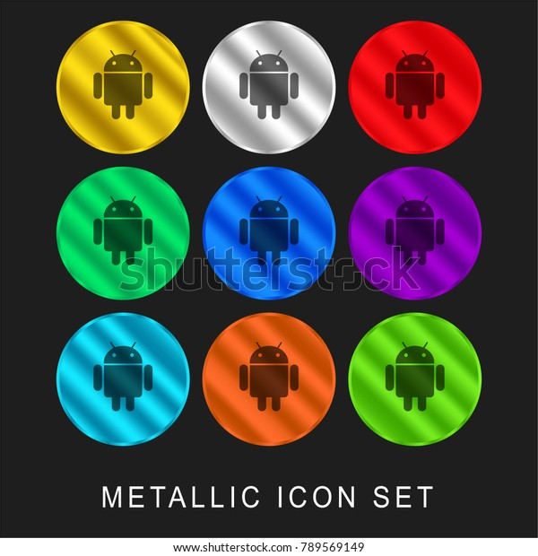 Android Logo 9 Color Metallic Chromium Stock Vector (Royalty Free