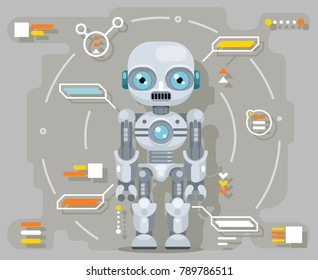 Android robot artificial futuristic intelligence information interface flat design vector illustration