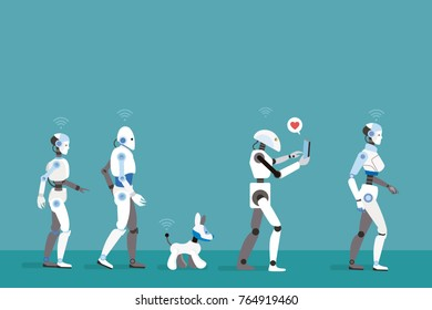 Android Robots Walking. Futuristic image of a near future.
