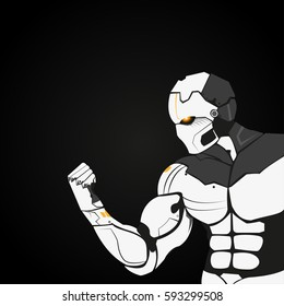 Android.Robot arm.Vector background.Future technology