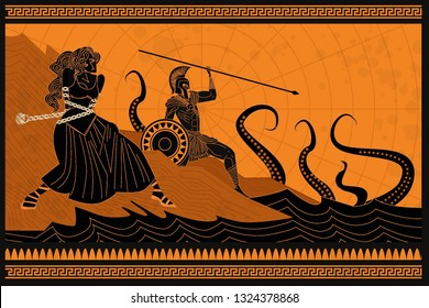 andromeda chained to a rock and perseus fighting the sea monster kraken