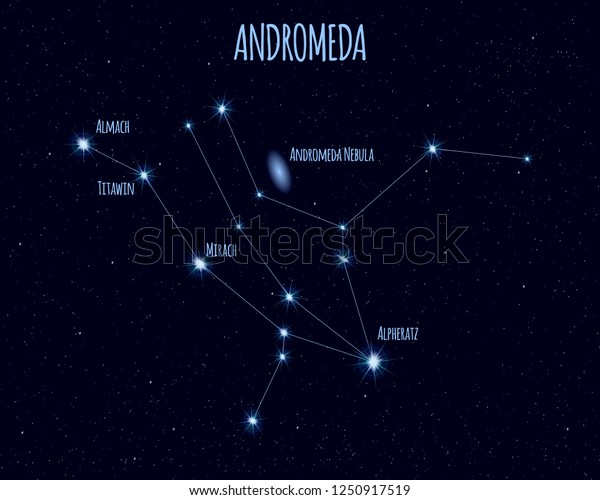 Andromeda constellation, vector illustration with the names of basic stars against the starry sky