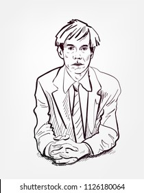 Andy Warhol vector sketch portrait illustration