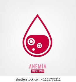 Anemia and Hemophilia icon. Drop of blood with blood cells isolated on white background in flat style. Haemophilia disease awareness symbol. Vector illustration.