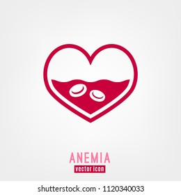 Anemia and Hemophilia icon. Heart shape with blood cells isolated on white background in flat style. Haemophilia disease awareness symbol. Vector illustration.