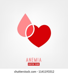 Anemia and Hemophilia icon. Heart shape with blood drop isolated on white background in flat style. Haemophilia disease awareness symbol in pink and red color. Vector illustration.