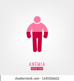 Anemia and Hemophilia icon. Man figure shape with blood level isolated on white background in flat style. Haemophilia disease awareness symbol. Vector illustration.