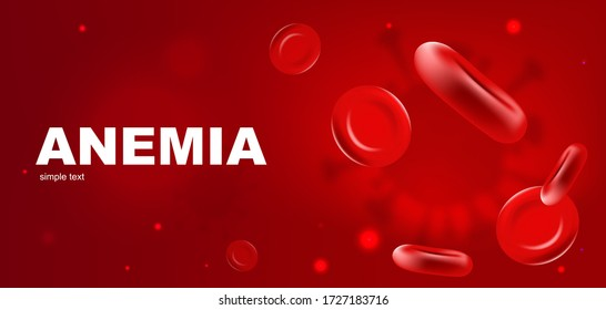 Anemia realistic vector banner template. Red blood cells 3d mock up design. Erythrocyte flow. Hemoglobin low level. Hematology advertisement horizontal printable flyer, brochure with text space