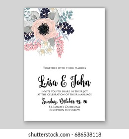 Anemone and red poppy wedding invitation vector template