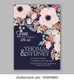 Anemone Wedding Invitation Card Template Floral Bridal Wreath Bouquet with pink flowers, mistletoe, eucalyptus branches, wild privet berry, currant berry vector illustration in vintage watercolor