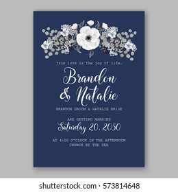 Anemone Wedding Invitation Card Template Floral Bridal Wreath Bouquet with wight flowers, peony eucalyptus branches, wild privet berry, currant berry vector illustration in vintage watercolor