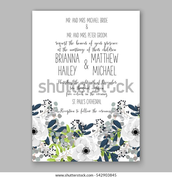 Anemone Wedding Invitation Card Template Floral Bridal Wreath Bouquet with wight flowers, mistletoe, eucalyptus branches, wild privet berry, currant berry vector  illustration in vintage watercolor