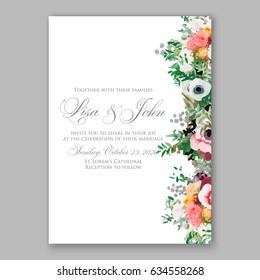 Anemone wedding invitation vector template