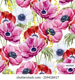 anemones, watercolor, flowers, pattern, background, wallpaper