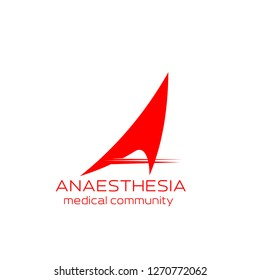 Anesthesia medical community icon for health care emblem design. Abstract corporate identity font of red letter A isolated alphabet symbol for medical center, hospital or clinic business card template